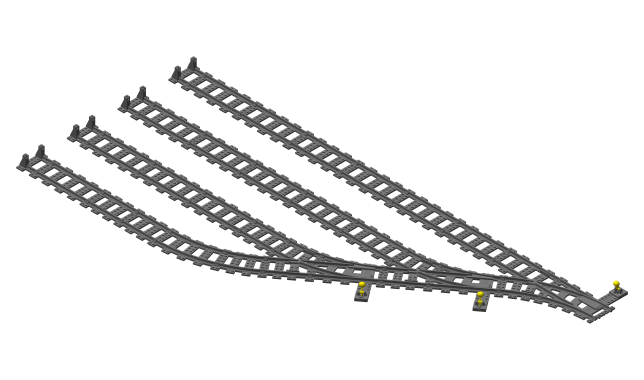 DOUBLE CROSSOVER COMPLATIBLE WITH LEGO TRAIN 3D PRINTED 18